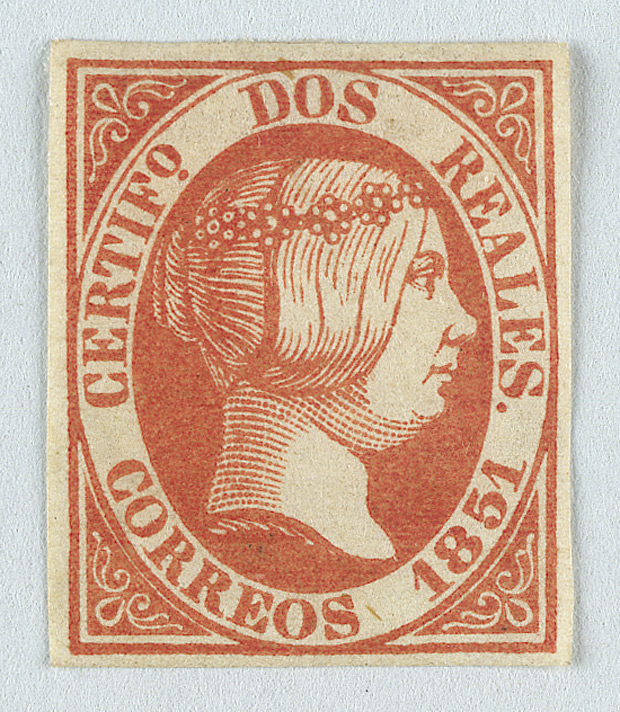 Spain: 1851 2 reales red, unused.